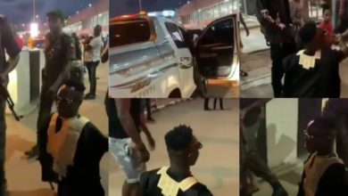 Photo of Shatta Bandle given a heavy military escort as he attends a premium party with Dangote & Otedola