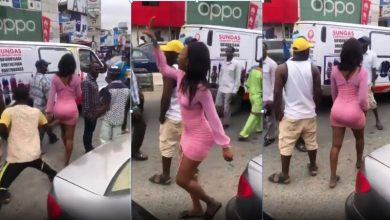 Photo of Watch how lady rain curses on a man who touched her narsh in public