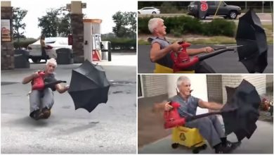 Photo of Man creates special 'car' with umbrella, drives it around