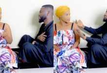 Photo of Bisa Kdei And Benedicta Gaffah Spotted In A Romantic And Funny Mood As He Sings For Her