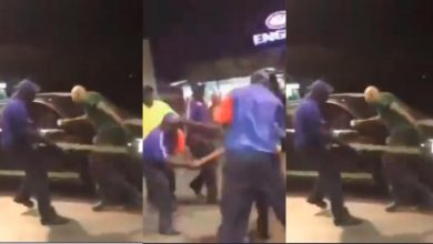 Photo of White man flogged by fuel attendants for allegedly calling one of them 'Monkey' [Video]